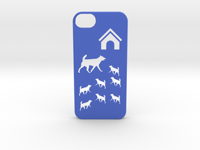 Iphone 5/5s dogs case in Blue Strong & Flexible Polished