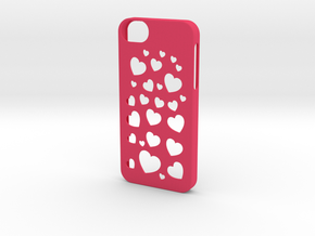 Iphone 5/5s case hearts in Pink Strong & Flexible Polished