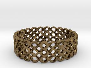 Ring Bracelet Low Polygon in Polished Bronze