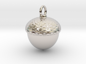 Acorn Charm in Rhodium Plated Brass