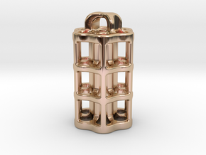 Tritium Lantern 5B (3x22.5mm Vials) in 14k Rose Gold Plated Brass