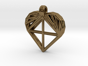 Voronoi Heart Pendant in Polished Bronze