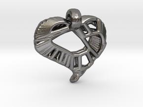 Voronoi Stylized Heart Pendant in Polished Nickel Steel