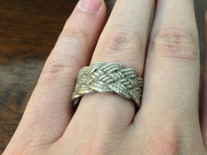 Nautical Turks Head Ring Knot in Polished Bronzed Silver Steel