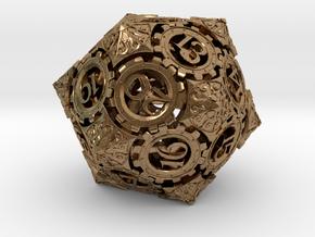 Steampunk D20 (Spindown) in Natural Brass
