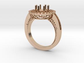 1 carat diamond Halo ring in 14k Rose Gold