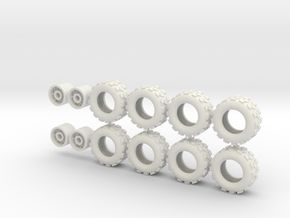 20mm diameter UTV wheels (8) in White Strong & Flexible