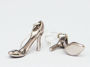 Classic Heels Earrings No. 1 - Size 1 in Rhodium Plated Brass