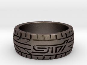 Subaru STI ring - 17 mm (US size 6 1/2) in Polished Bronzed Silver Steel