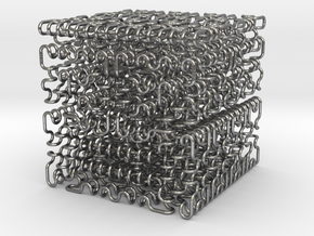 Hilbert/Moore cube ( 3 ) , thin in Natural Silver