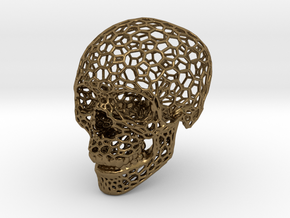 Voronoi Skeletonized Skull in Polished Bronze