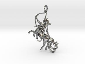 Sagittarius Zodiac Pendant in Fine Detail Polished Silver
