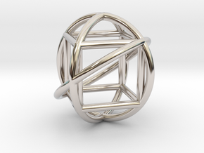 Simple Geometry Pendent in Rhodium Plated Brass