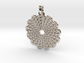Wicker Pattern Pendant Big in Rhodium Plated Brass