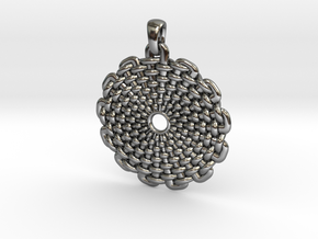 Wicker Pattern Pendant Big in Fine Detail Polished Silver