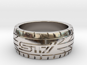 Subaru STI ring  - 16 mm (US size 5 1/2) in Rhodium Plated Brass