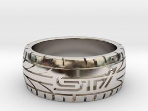 Subaru STI ring - 17 mm (US size 6 1/2) in Rhodium Plated Brass