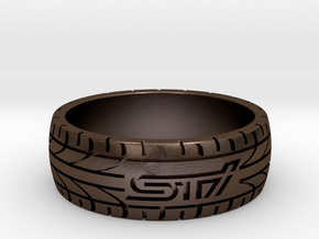 Subaru STI ring - 21 mm (US size 11 1/2) in Polished Bronze Steel