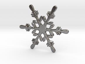 Snowflake - Christmas Tree Ornament (Bauble) in Polished Nickel Steel