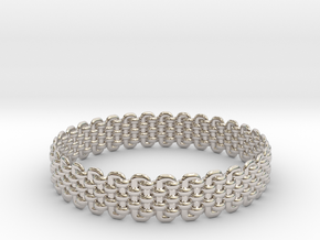 Wicker Pattern Bracelet Size 1 in Rhodium Plated Brass
