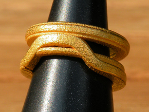 Balem's Ring1 - US-Size 7 1/2 (17.75 mm) in Polished Gold Steel