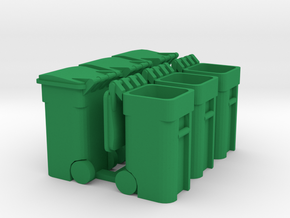 Trash Cart (6) Mixed - 'O' 48:1 Scale in Green Processed Versatile Plastic