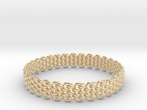 Wicker Pattern Bracelet Size 4 in 14k Gold Plated Brass