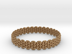 Wicker Pattern Bracelet Size 6 in Polished Brass