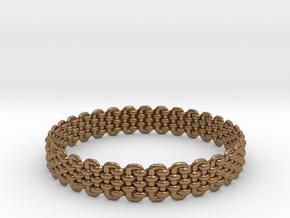 Wicker Pattern Bracelet Size 5 in Natural Brass