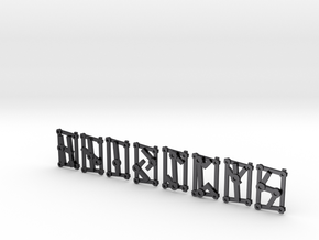 Small Aett 2 - Futhark Runes - 8 of 24 in Polished and Bronzed Black Steel