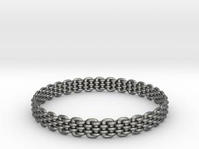 Wicker Pattern Bracelet Size 13 or USA X-Large in Fine Detail Polished Silver