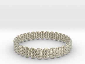 Wicker Pattern Bracelet Size 5 in 14k White Gold