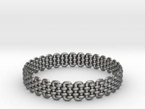Wicker Pattern Bracelet Size 4 in Fine Detail Polished Silver