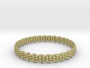 Wicker Pattern Bracelet Size 13 or USA X-Large in 18k Gold Plated Brass