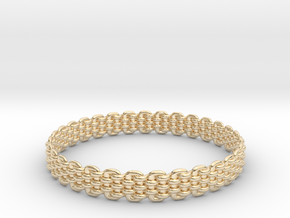Wicker Pattern Bracelet Size 10 or USA Large Size in 14k Gold Plated Brass