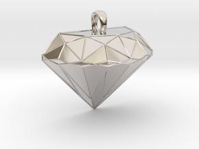 Metal Diamond-Shaped Pendant in Rhodium Plated Brass