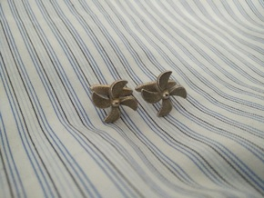Propeller Cufflink in Polished Bronzed Silver Steel