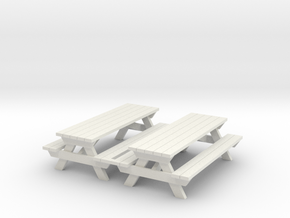 Picnic Table - 'O' 48:1 Scale Qty (2) in White Natural Versatile Plastic