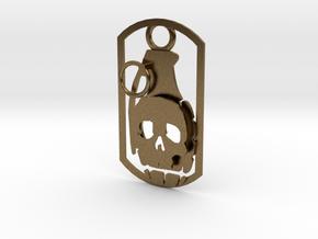 Skull grenade dog tag in Natural Bronze