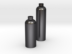 2 Modern Bottle Vases Large and Short in Polished and Bronzed Black Steel