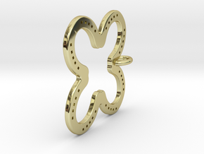 Tilted Horseshoe with luck in 18k Gold Plated Brass