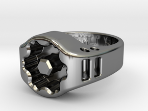 US8 Ring XIX: Tritium in Fine Detail Polished Silver