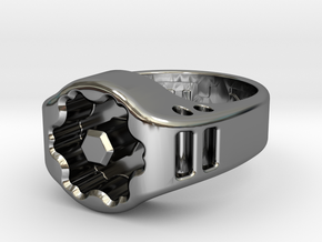 US8.5 Ring XIX: Tritium in Fine Detail Polished Silver