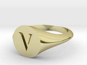 Letter V - Signet Ring Size 6 in 18k Gold