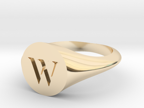 Letter W - Signet Ring Size 6 in 14k Gold Plated Brass