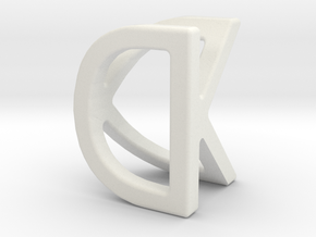 Two way letter pendant - DK KD in White Natural Versatile Plastic