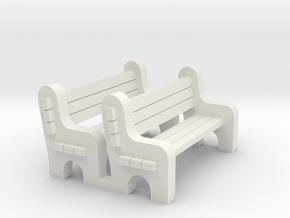 Street Bench 'O' 48:1 Scale Qty (2) in White Natural Versatile Plastic