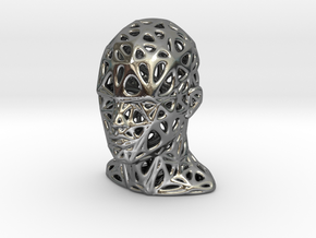 Female Voronoi Head Scale 0.25 in Polished Silver
