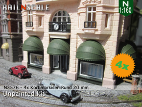 4x Korbmarkise rund 20 mm (N1:160) in Smooth Fine Detail Plastic
