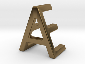 AE EA - Two way letter pendant in Polished Bronze